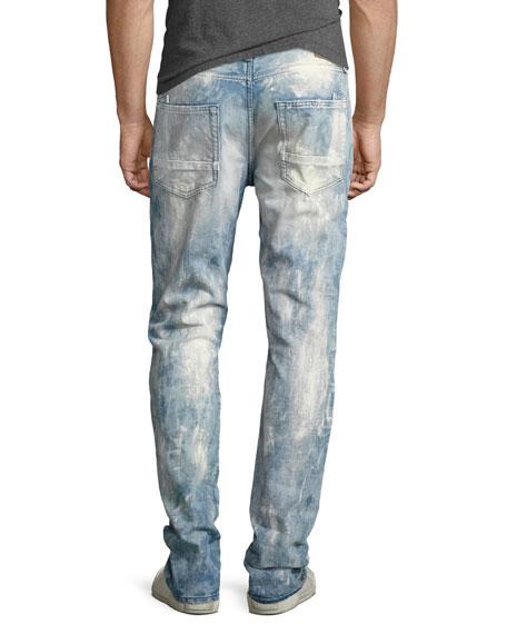Demon Bleached Slim-Straight Moto Jeans, Lake (Medium Blue)