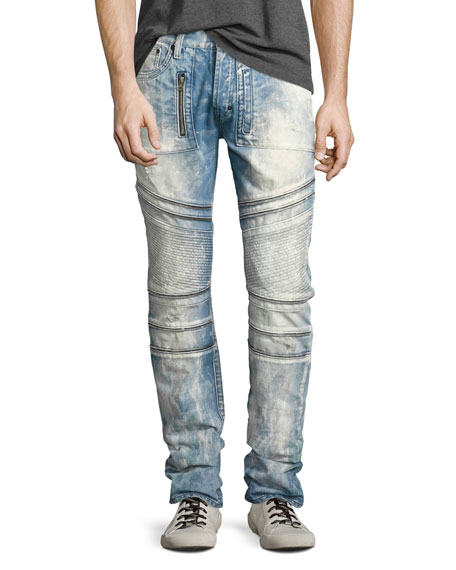 PRPS Demon Bleached Slim-Straight Moto Jeans, Lake (Medium