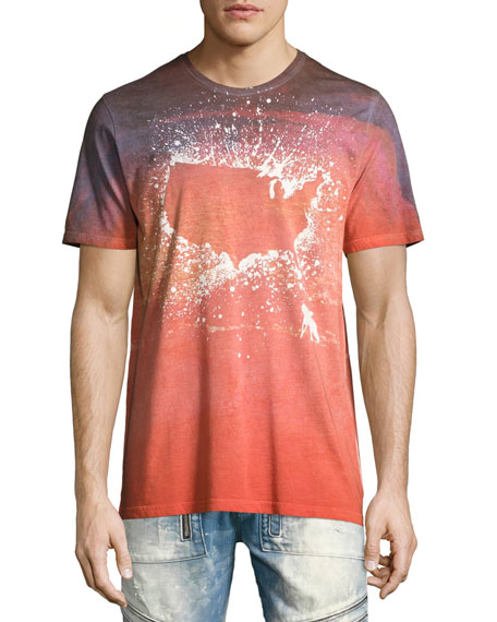 Pollen-Splatter USA Tie-Dye T-Shirt, Orange