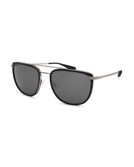 Lafayette Metal & Acetate Navigator Sunglasses, Black/Silver/Noir
