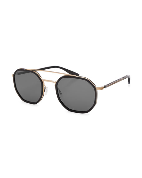 Barton Perreira Themis Octagonal Sunglasses, Black/Gold/Noir