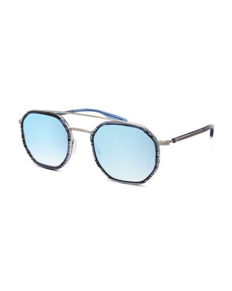 Barton Perreira Men's Themis Mirrored Octagonal Sunglasses