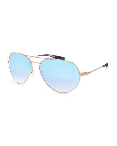 Commodore Mirrored Aviator Sunglasses, Gold/Arctic Blue Mirror