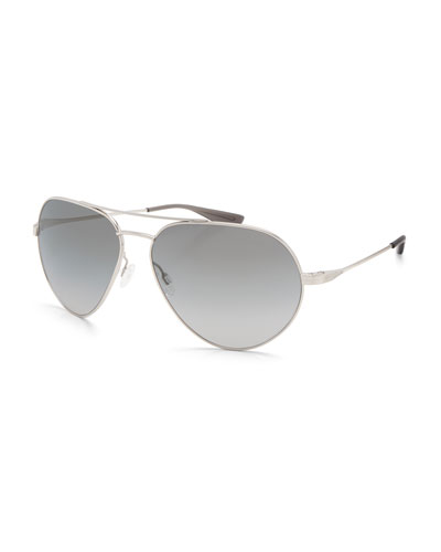 Commodore Metal Aviator Sunglasses, Silver/Moonstruck