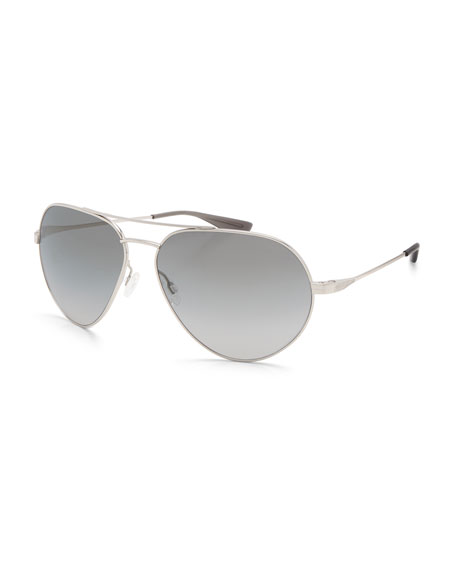 Barton Perreira Commodore Metal Aviator Sunglasses, Silver/Moonstruck