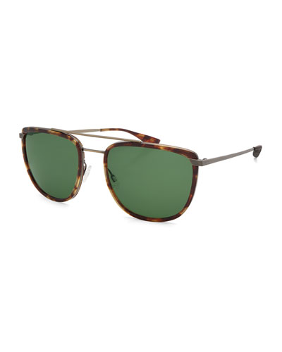 Lafayette Metal & Acetate Navigator Sunglasses, Chestnut/Antique Gold/Bottle Green
