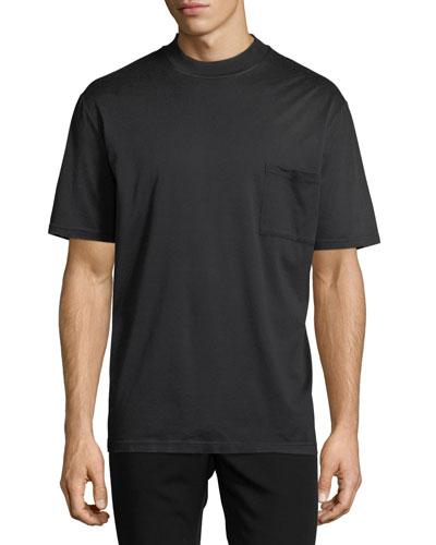 Mock-Neck Jersey T-Shirt