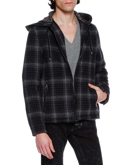 Lanvin Check Plaid Virgin Wool Zip-Front Hoodie Jacket,