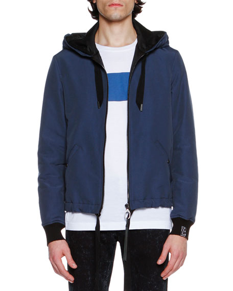 Hooded Zip-Front Jacket, French Blue