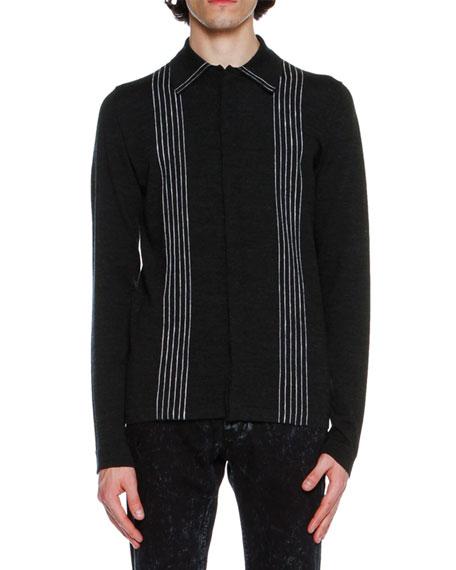 Striped Merino Wool Polo Shirt, Gray