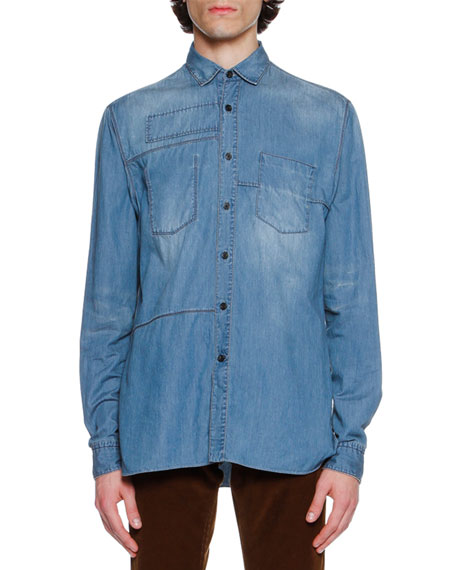 Lanvin Faded Denim Patch Shirt, Light Blue