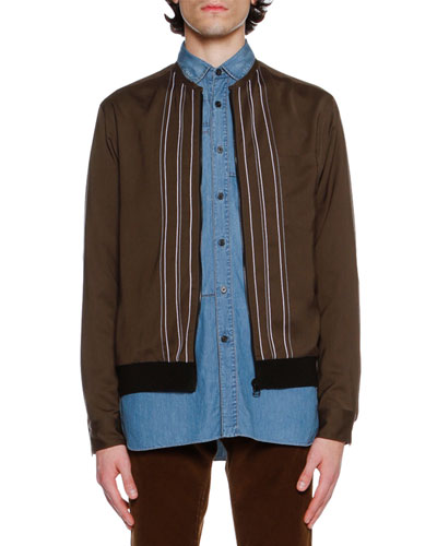 Striped Silky Bomber Jacket, Khaki
