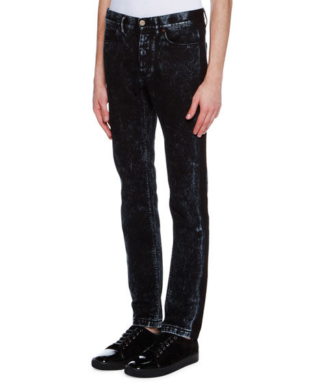 Lanvin Acid-Wash Tuxedo-Stripe Skinny Jeans, Blue/Gray