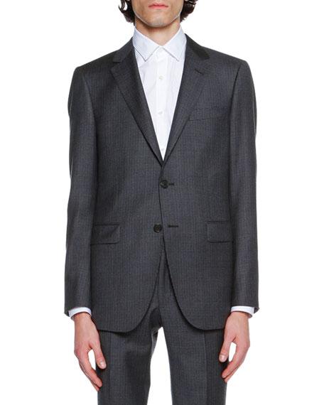 Mini-Check Super 120s Virgin Wool Suit Jacket, Navy