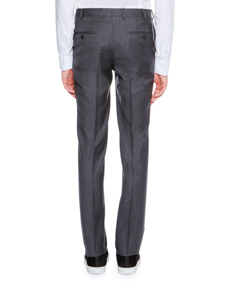 Mini-Check Super 120s Wool Suit Trousers, Navy