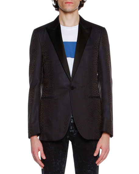 Lanvin Evolution Eve Peak-Lapel Evening Jacket, Navy Leopard