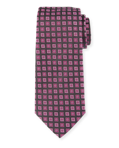 Neat Box Silk Tie, Pink/Gray