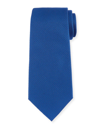 Herringbone Silk Tie, Bright Blue