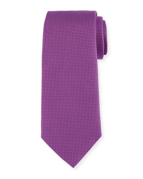 Herringbone Silk Tie, Fuchsia