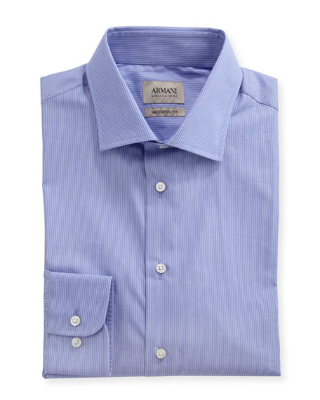 Armani Collezioni Striped Modern-Fit Dress Shirt, Purple