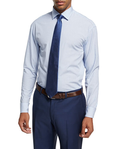 Plaid Cotton Dress Shirt, Blue/White