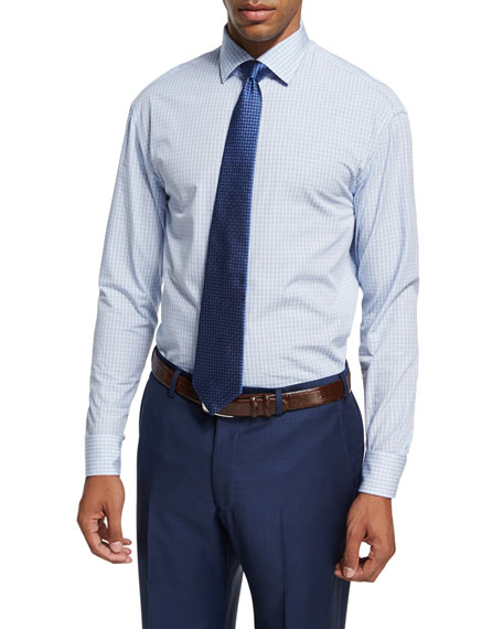 Armani Collezioni Plaid Cotton Dress Shirt, Blue/White