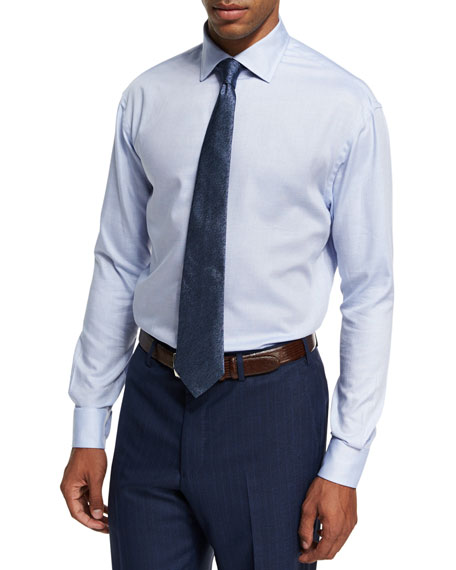 Textured Cotton Dress Shirt, Blue