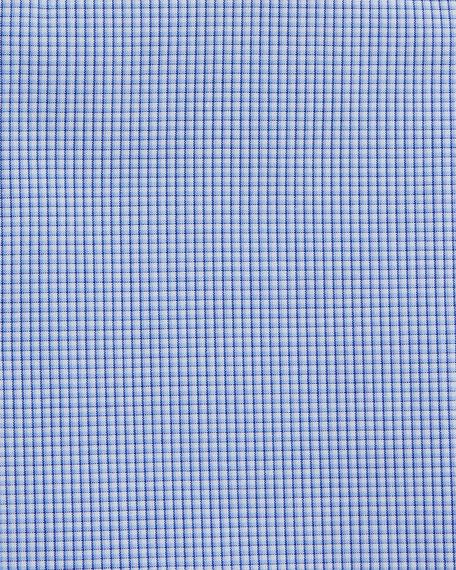 Mini-Check Cotton Shirt, Blue/White