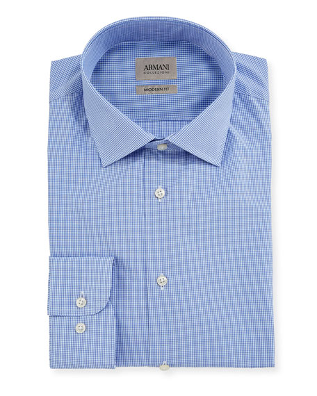 Armani Collezioni Mini-Check Cotton Shirt, Blue/White