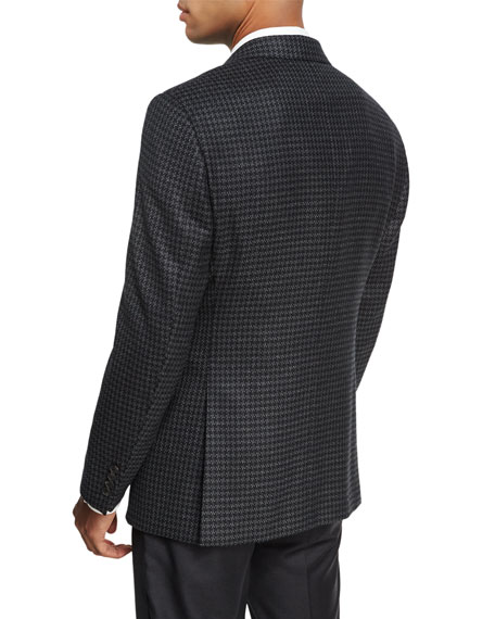 Houndstooth Virgin Wool-Cashmere Sport Coat, Black/Charcoal