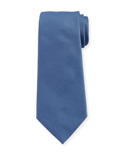 Herringbone Silk Tie, Light Blue