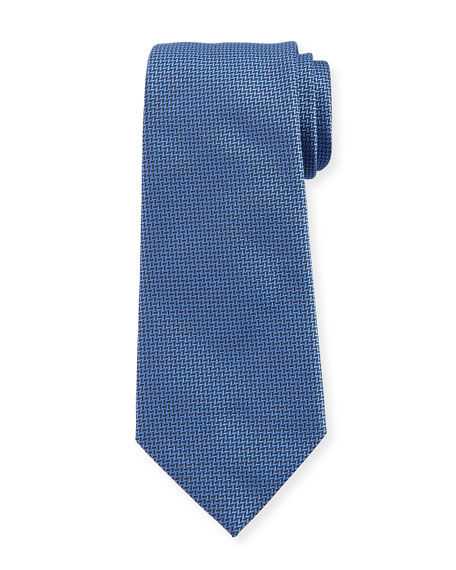 Armani Collezioni Herringbone Silk Tie, Light Blue