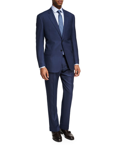 Pinstripe Wool Two-Piece Suit, Bright Blue