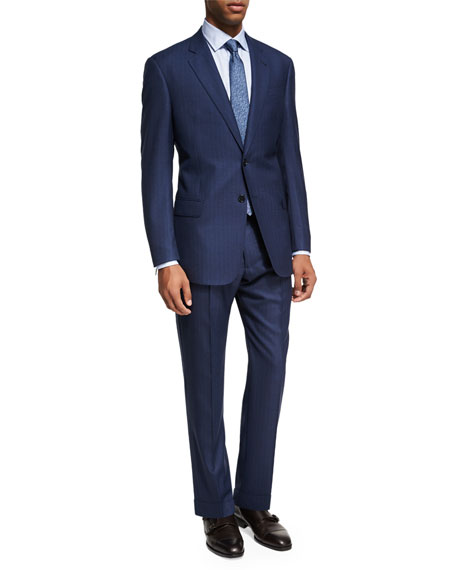 Armani Collezioni Pinstripe Wool Two-Piece Suit, Bright Blue