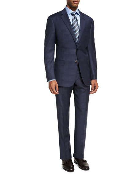 Mini Box-Check Wool Two-Piece Suit, Gray/Blue