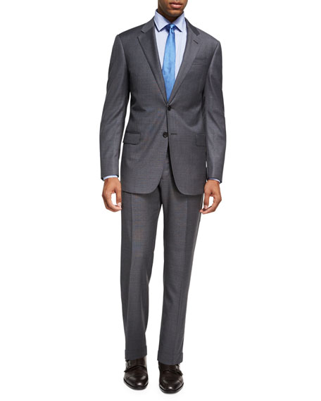 Box-Textured Wool Two-Piece Suit, Gray