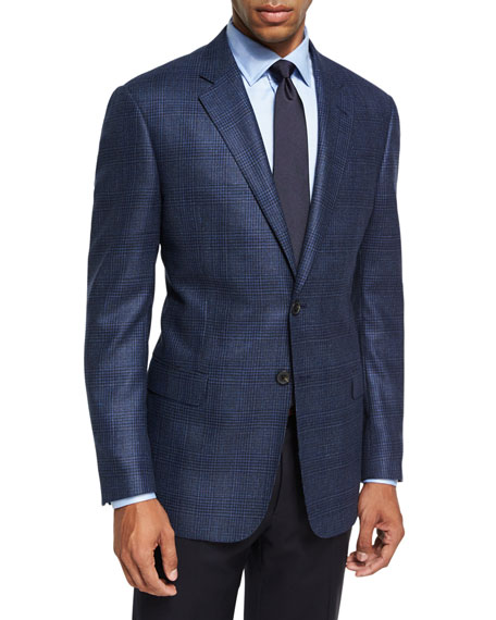 Armani Collezioni Glen Plaid Wool Sport Coat, Blue