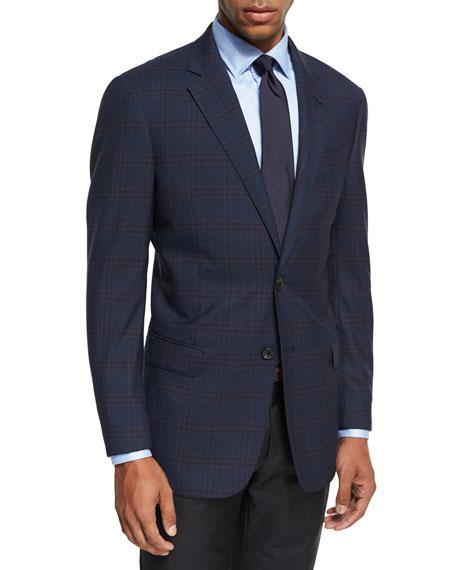 Armani Collezioni Windowpane Plaid Wool Sport Coat