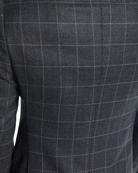 Windowpane Basketweave Wool-Cashmere Sport Coat