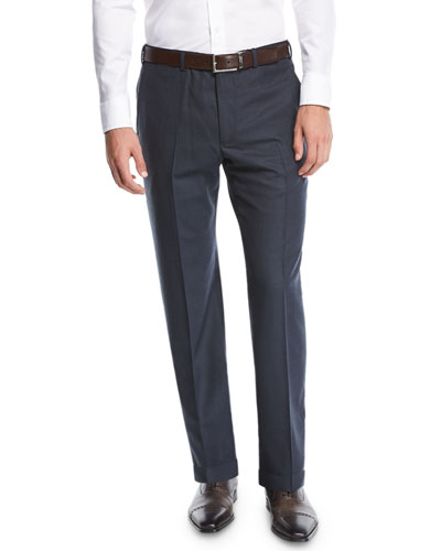 Wool Straight-Leg Trousers, Navy