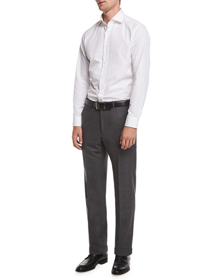 Flat-Front Sharkskin Wool Trousers