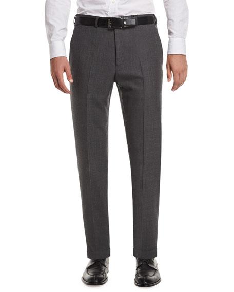 Armani Collezioni Flat-Front Sharkskin Wool Trousers