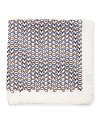 Bulldog-Print Silk Pocket Square