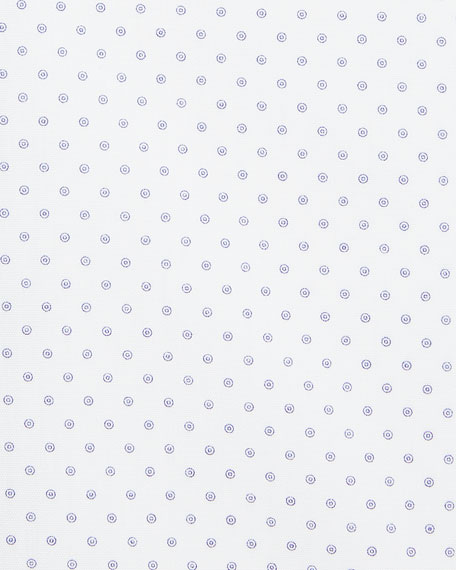 Dot-Print Dress Shirt with Piping