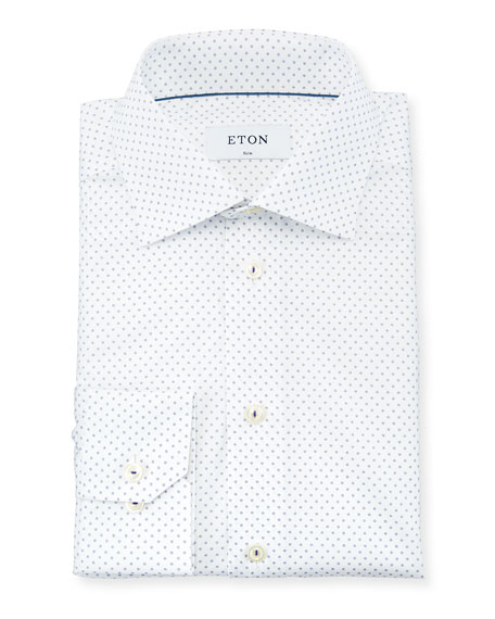 Eton Dot-Print Dress Shirt with Piping