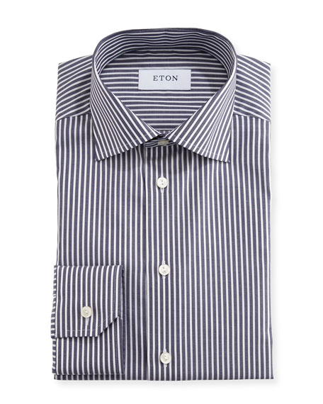 Slim-Fit Striped Dress Shirt, Navy/White