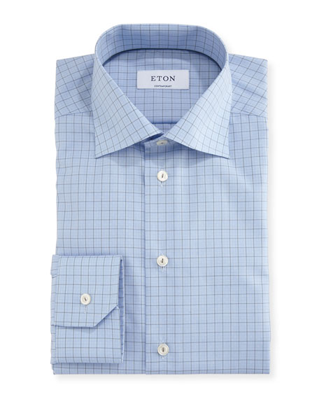 Eton Contemporary-Fit Grid-Check Dress Shirt, Gray/Blue