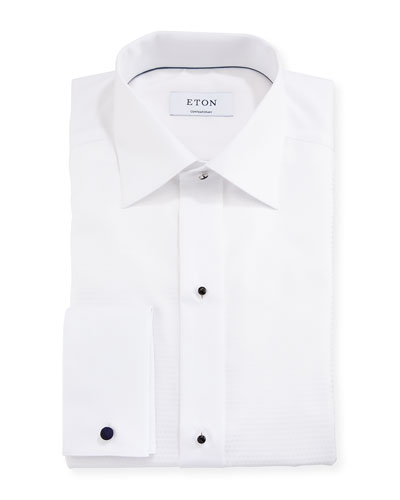 Contemporary-Fit Fancy Dot Formal Shirt, White