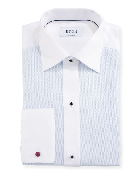 Eton Contemporary-Fit Fancy Formal Shirt, White/Light Blue
