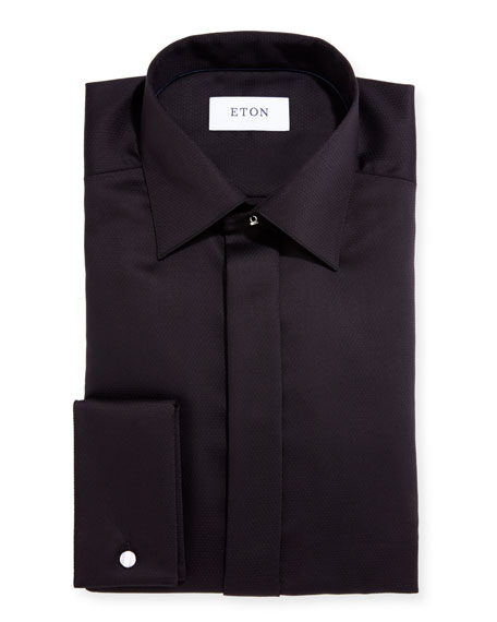Slim-Fit Diamond-Weave Formal Dress Shirt